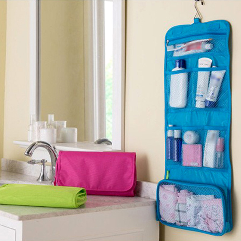b3f47f9730 Household Waterproof Travel Toiletry Foldable Cosmetic Makeup Portable Hanging  Bag Storage Organizer Case Blue Green Pink