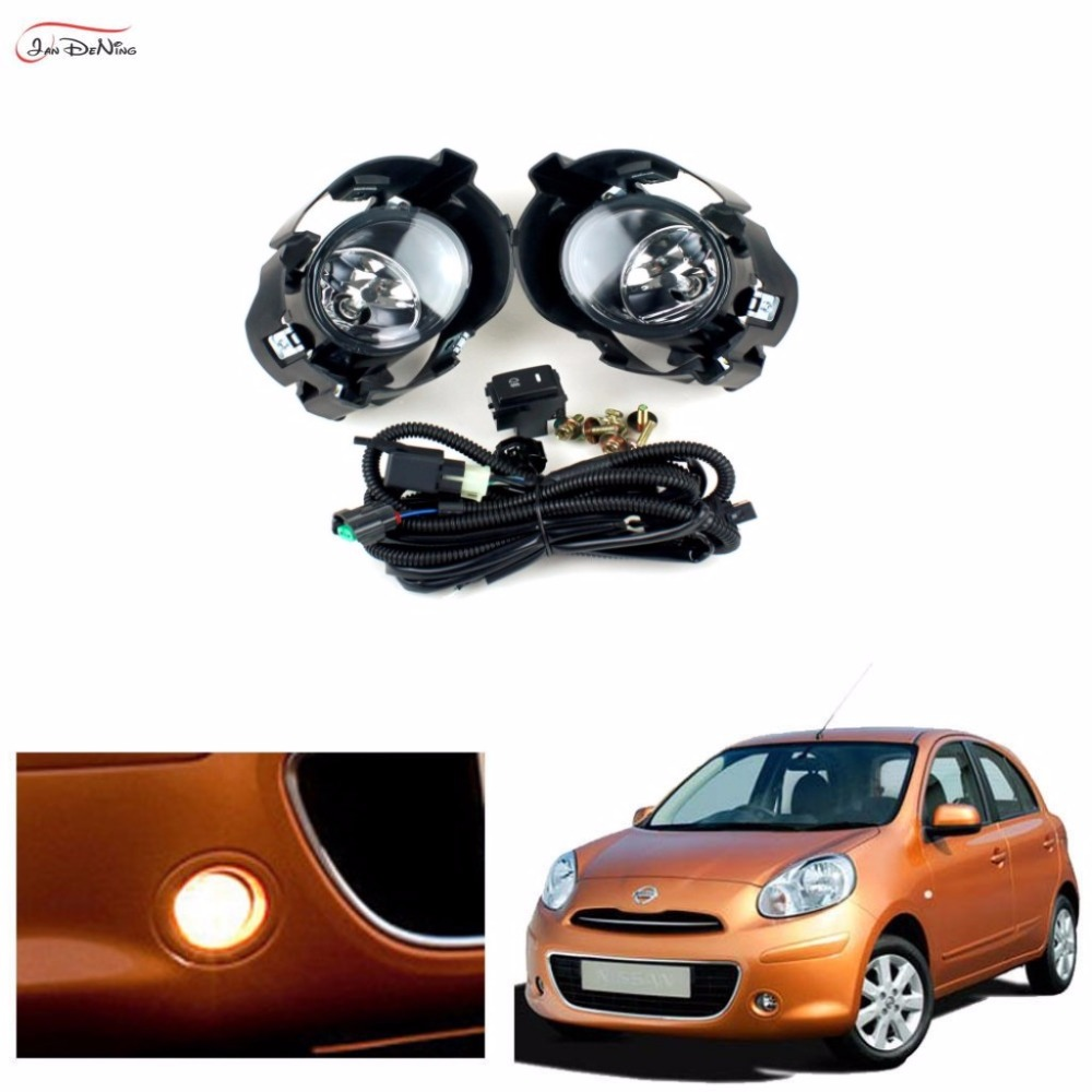 JanDeNing Car Fog Lights For 2010 -2013 NISSAN K13 MICRA / March Clear Front Bumper Fog Lamp Replace Assembly kit(one Pair) car fog lights lamp for mitsubishi triton 2 door 2009 on clear lens pair set wiring kit fog light set free shipping