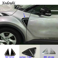 For Toyota C-HR CHR 2017 2018 car body stick Front Machine Side Fender Vents Air Outlet lamp trim moulding hoods 2pcs
