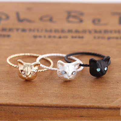 New products in Japan and South Korea ring is delicate and lovely kitten crystal animal ring