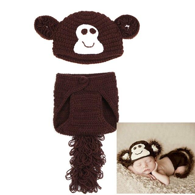 Häkeln Baby Monkey Hut Spiel Windelabdeckung Satz Mit einem schwanz ...