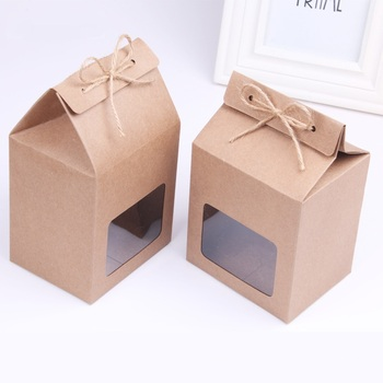 100pcs/lot Kraft Paper Party/Wedding Gift Bags,Cake/Chocolates/Candy Packing Bags Stand Up Food Clear PVC window Seal boxes