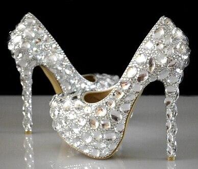 цена на crystal rhinestone women wedding shoes white bridal shoes big size 41 married high-heel shoes platform female diamond escarpins