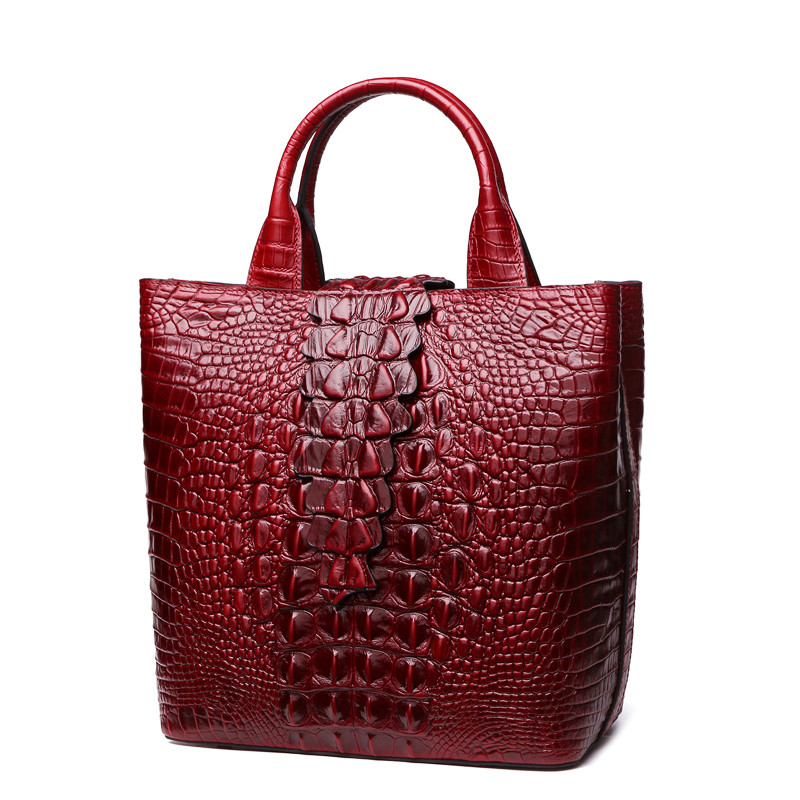 Crocodile Pattern Genuine Leather Women Bag\Handbag Cowhide ladies' Tote Casual Shoulder Bag Messenger Bag Retro Big Bag~16B52 free delivery genuine leather women bag 2016 new simple casual shoulder bag crocodile pattern messenger bag