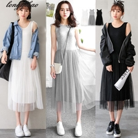 Spring And Autumn Korean Women S New Sweet Sling Net Yarn Cotton Stitch Modal Vest Base