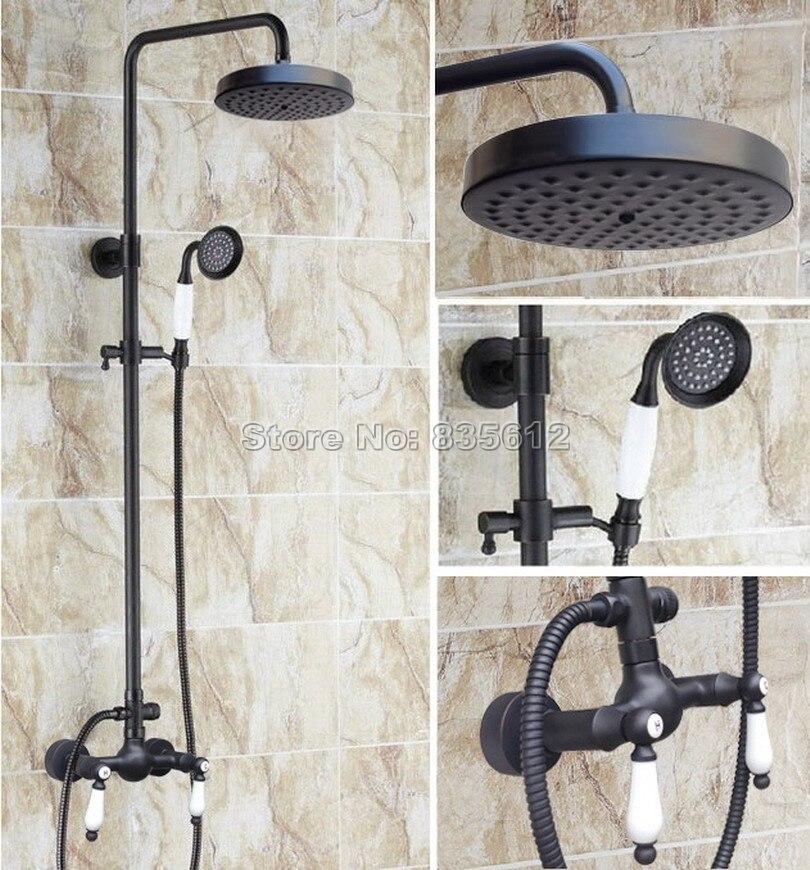 ᑐbathroom Black Oil Rubbed Bronze Rain Shower Faucet With Handheld