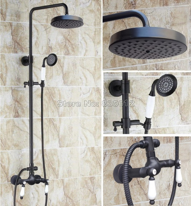 Bathroom Black Oil Rubbed Bronze Rain Shower Faucet with Handheld Shower Head / Wall Mounted Dual Handles Mixer Taps Wrs475