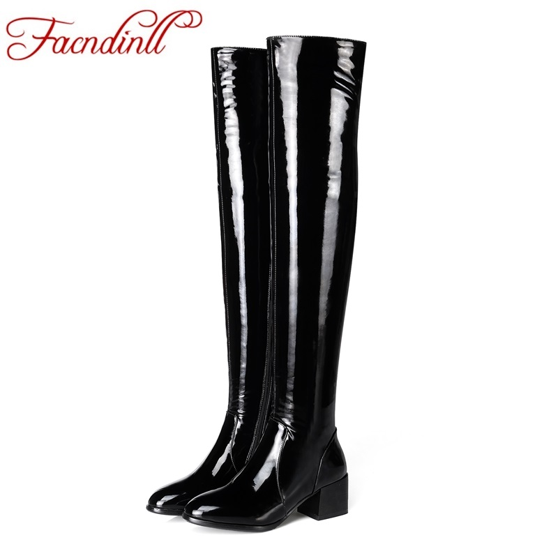 FACNDINLL new fashion women long boots high quality sexy patent leather med heels round toe shoes woman over the knee high boots enmayer new fashion high heels long boots shoes woman over the knee zip round toe 3 colors black shoes platform shoes sexy charm