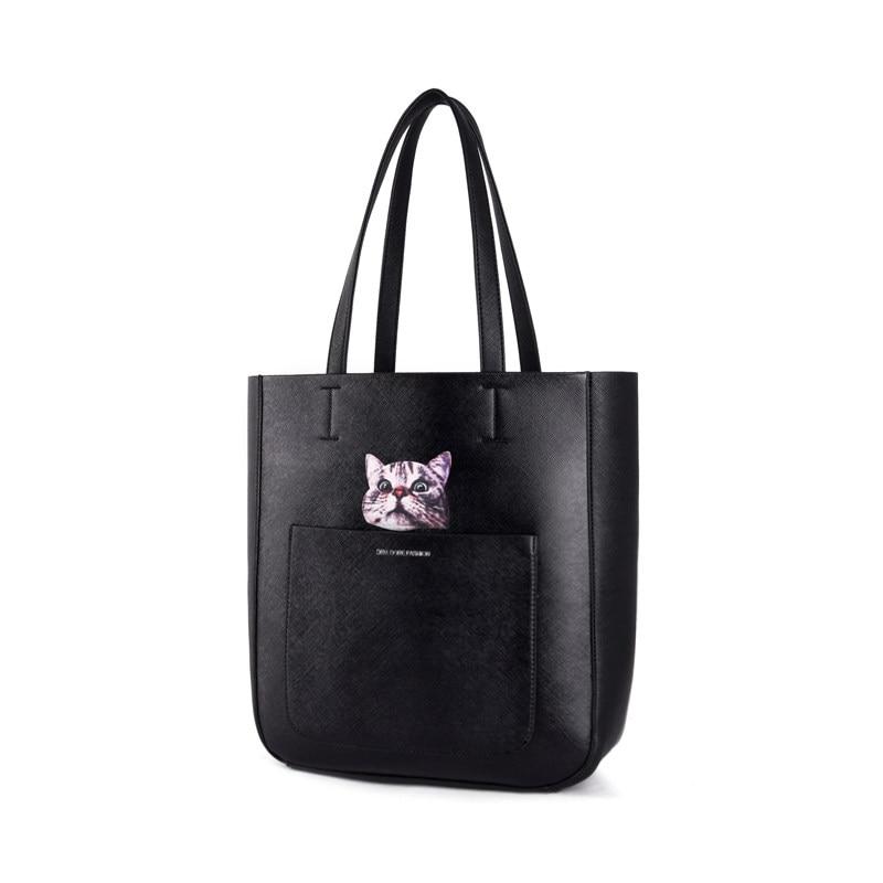 Cartoon Tote Ladies Fashion Casual Composite Bag Lovely Cat Print Hand Bag Shoulder Bag Women Designer