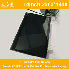 14 Inch 2560 * 1440 10 Touch IPS LCD Screen For XBOX PS3 PS4 NS JX VGA Double HDMI Portable Monitor For Computer Laptop