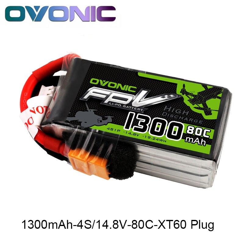 OVONIQUE 1300 mah 80C Max 160C Lipo 4S 14.8 v Batterie avec XT60 Plug pour 240 FPV Cadre RC Drone heli Quad Bateau De Voiture