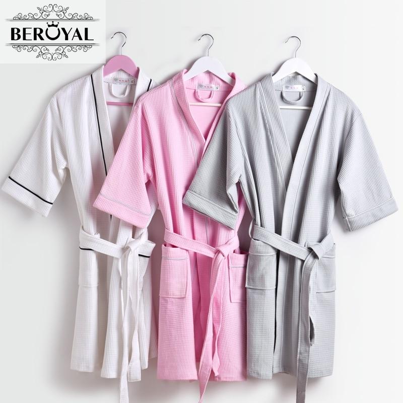 92129c987a Beroyal Brand Waffle Bathrobe - Cotton Bath Robe Unisex Solid Dressing Gown  Spa Bathrobe Pajamas Soft Nightgown Sleepwear