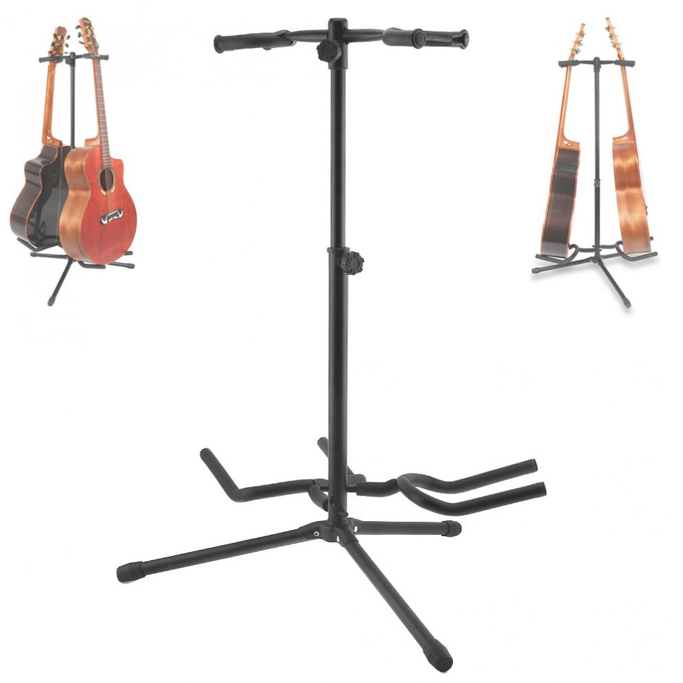 Double Holders Aluminum Alloy Floor Guitar Stand with Stable Tripod for Display 2pcs Acoustic Electric Guitar