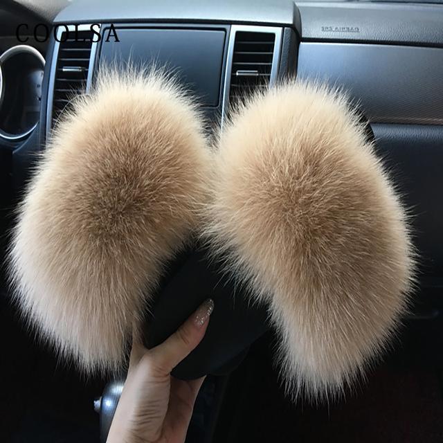 Coolsa Summer Women Fox Fur Slippers Real Fox hair Slides Female Furry Indoor Flip Flops Casual Beach Sandals Fluffy Plush Shoes