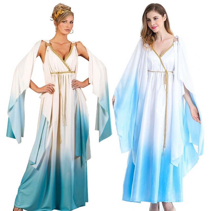 Women's Halloween New Quality Long Dress Blue Cleopatra Queen's Role Playing Ancient Cleopatra Afterwear Greek Goddess Game Unif
