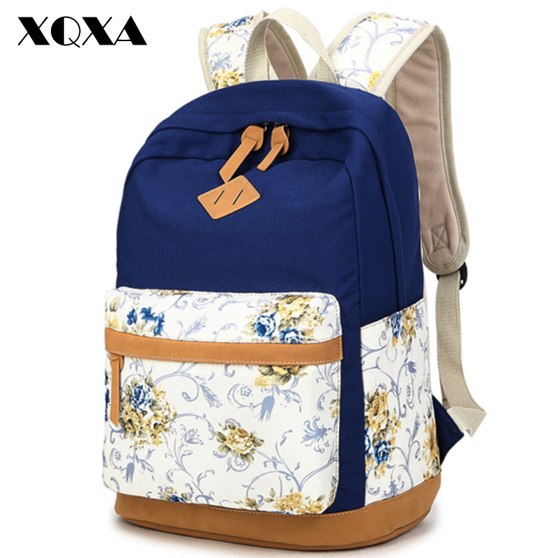 Xqxa Brand Quality Floral Canvas Bag Backpack School For Teenager Girl Laptop Bag Printing Backpack Women Backpack