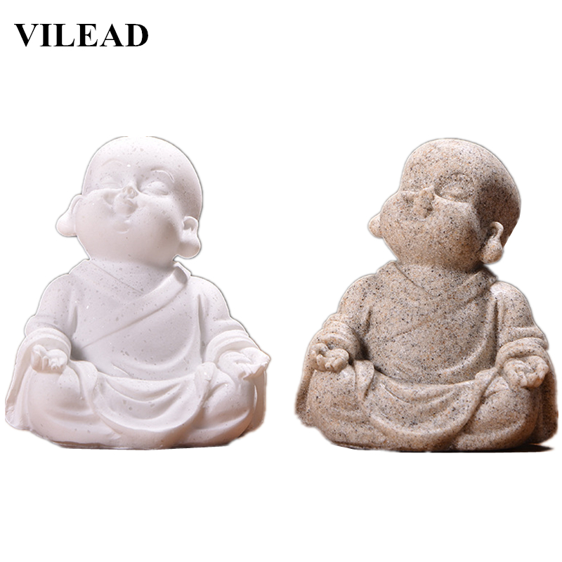 VILEAD Nature Sandstone Cute Little Monk Figurines White Buddha Statuettes Handmade Miniatures for Office Home Decor