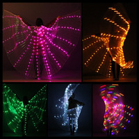 2018 LED Isis Wings Glow Light up Belly Dance Costumes DJ Performance Clothing for Carnival Halloween Xmas Party