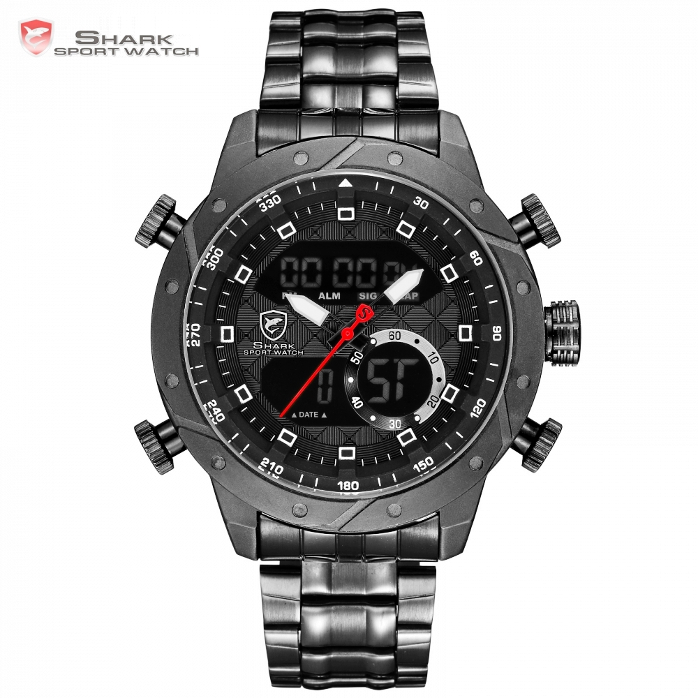 SHARK Luxury Brand Men Military Sport Watch Quartz Hour Alarm LCD Analog Digital Watch Male Black Steel Strap Band Clock /SH591 top brand luxury digital led analog date alarm stainless steel white dial wrist shark sport watch quartz men for gift sh004