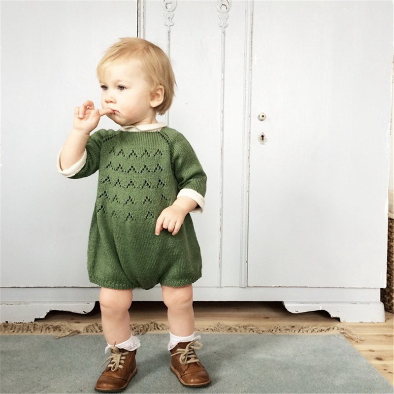 0-5Years Knitted Baby Girl Romper Autumn Winter 2016 New Baby Rompers Long Sleeve Cotton Baby Girl Clothes Toddlers Jumpsuits cotton baby rompers set newborn clothes baby clothing boys girls cartoon jumpsuits long sleeve overalls coveralls autumn winter