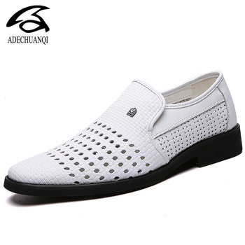 Summer Breathable Men's Sandals Leather Loafers Non-slip Casual Men's Shoes Wear-resistant Soft Business Shoes 38-48