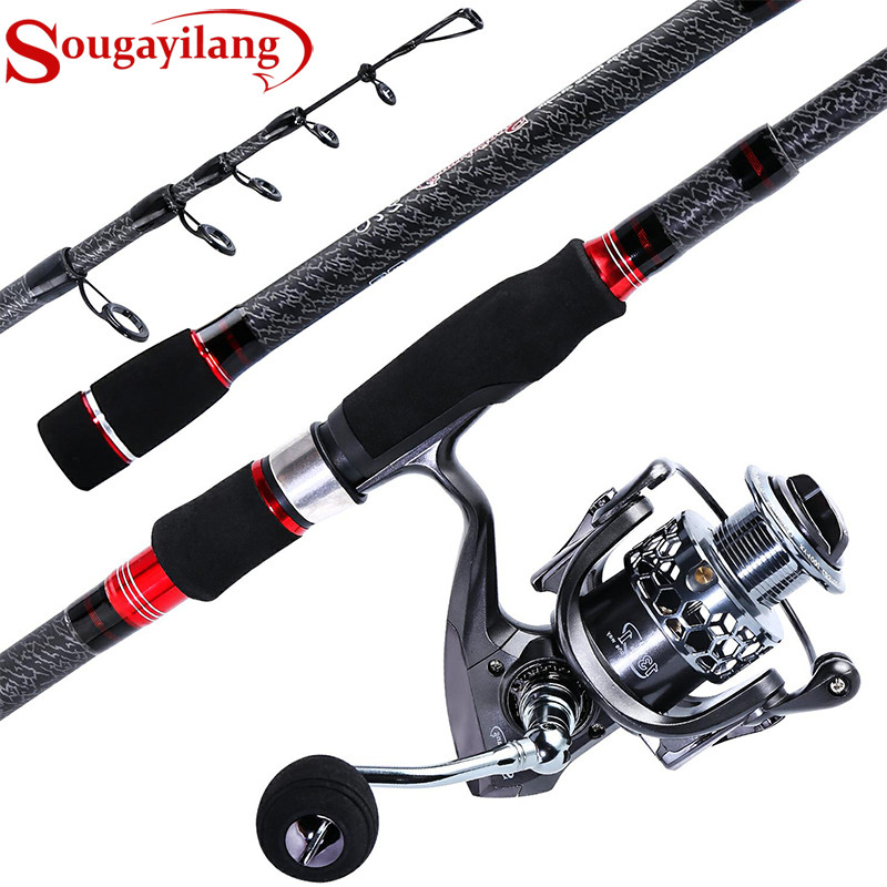 Sougayilang 1 8 3 0m Telescopic Fishing Rod and Fishing Reel With Spare Spool Combo Portable