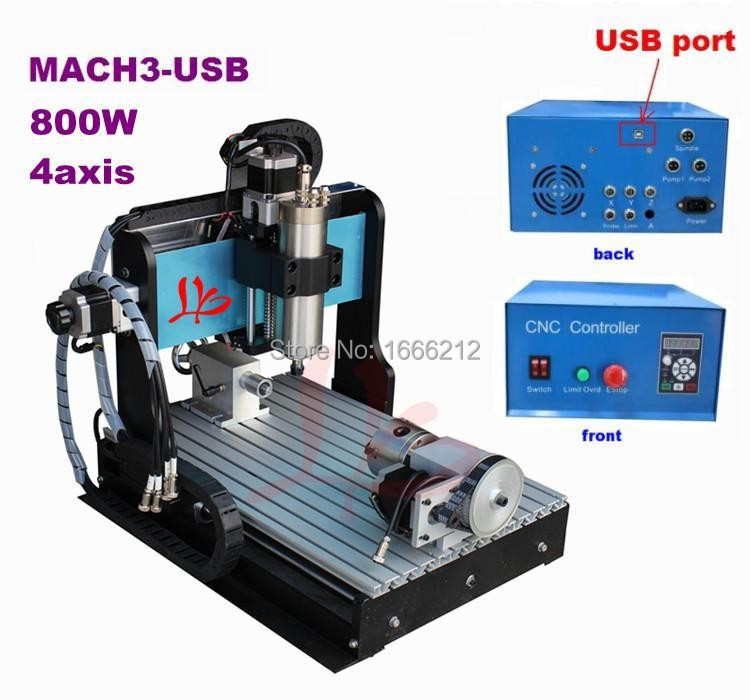 Free ship to Russia& No tax!4 axis cnc milling and engraving machine 3040 Z-USB 800W water cooling,metal hobby 3d cnc router 4 axis cnc router 3040z s 800w cnc spindle cnc milling machine with dsp0501 controller free ship to russia no tax