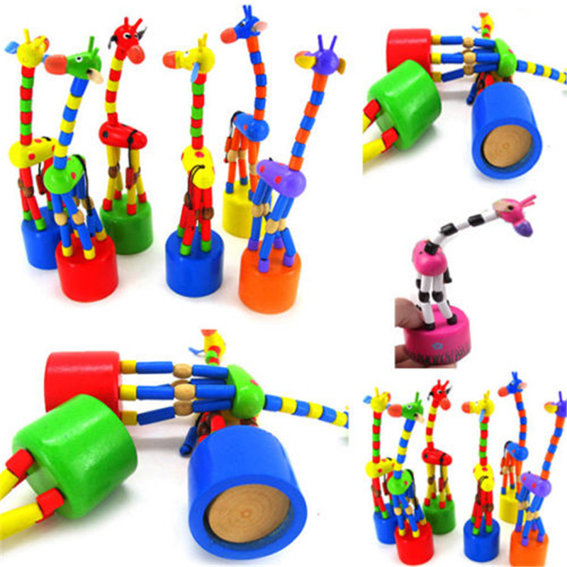 toys 2019 hot sale educational toy kids intelligence toy dancing stand colorful rocking giraffe wooden toy brinquedos oyuncak