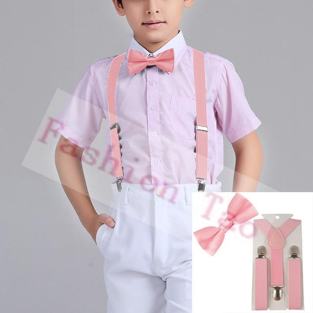 2 Pcs Pink Solid Color Children Kids Bowtie Erfly Bow Tie Suspenders Braces Sets Wedding