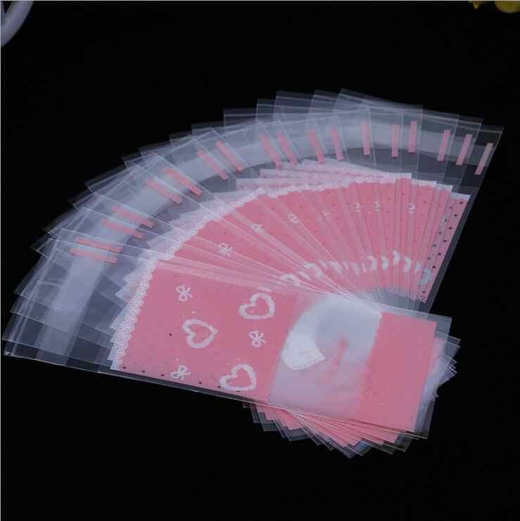 100 cái/lốc Tặng túi Nhựa Trong Suốt Cellophane Chấm bi Kẹo Bánh Tặng kèm DIY Tự Dính Túi Cưới Một Phần