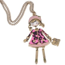 Hot Sale New Women Fashion French Paris Girl Doll Pendant Necklace Sweater Chain Dress Doll Necklace