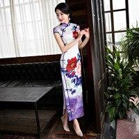 Top Grade Mùa Hè Nữ Ăn Mặc Của Trung Quốc Truyền Thống của Phụ Nữ Satin Dài sườn xám Cái Yếm Trung-Bê Sexy Dresses Flowers ML XL XXL 3X