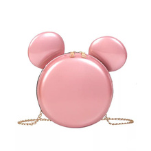 2019 New Fashion Design Women Mickey Shaped Bag Cute Funny Women Evening Bag Clutch Purse Chain Shoulder Bag for Birthday Gift