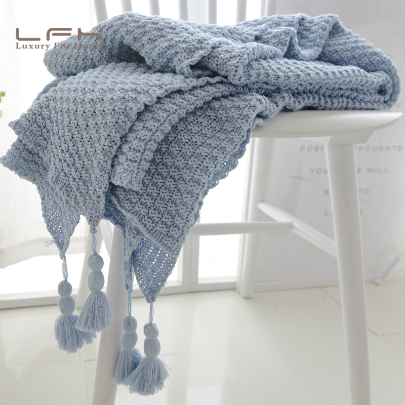 lfh 130x170cm cotton cable knit throw blanket super soft warm white color fluffy blanket ins facebook - Cable Knit Throw