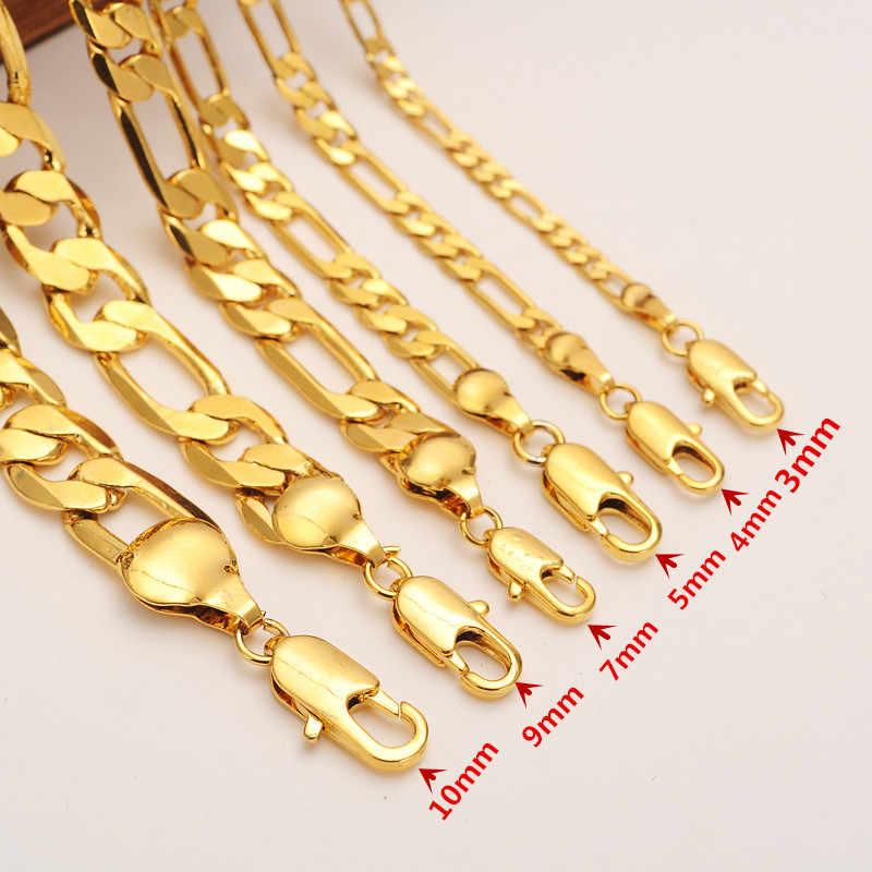 Moda męska plated 24k złota bransoletka łańcuch figaro bransoletka bangle naszyjnik mężczyzn biżuteria akcesoria przyjaźń opaski prezent