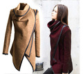 Новый Высокий Бренд Ткань Пальто Осень полноценно Уличной Моды Нерегулярные ПУ Стежка женская Полушерстяные Пальто повседневная Верхняя Одежда