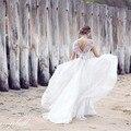 Анна Кэмпбелл Новый Органза Line Свадебные Платья Cap Рукава Из Бисера Кристаллы Топ Длина Пола Лето Свадебные Платья