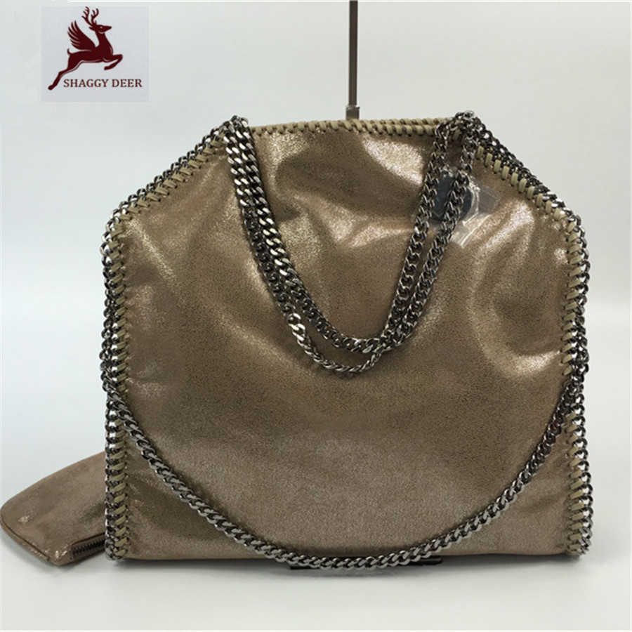 NEW Shinny Kaki Luxury Shaggy Deer Brand Exclusive Personalized 3 Chain PVC Handbag Metal Chain Shoulder Bag mini gray shaggy deer pvc quilted chain bag with cover real picture