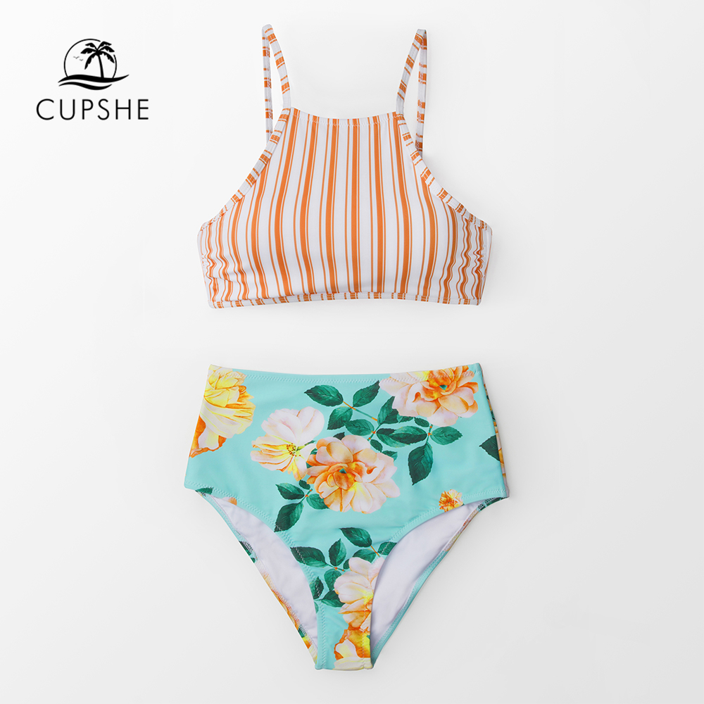 CUPSHE Orange Stripe And Floral High-waisted Tank Bikini Sets 2020 Women Boho Lace-up Two Pieces Swimsuits