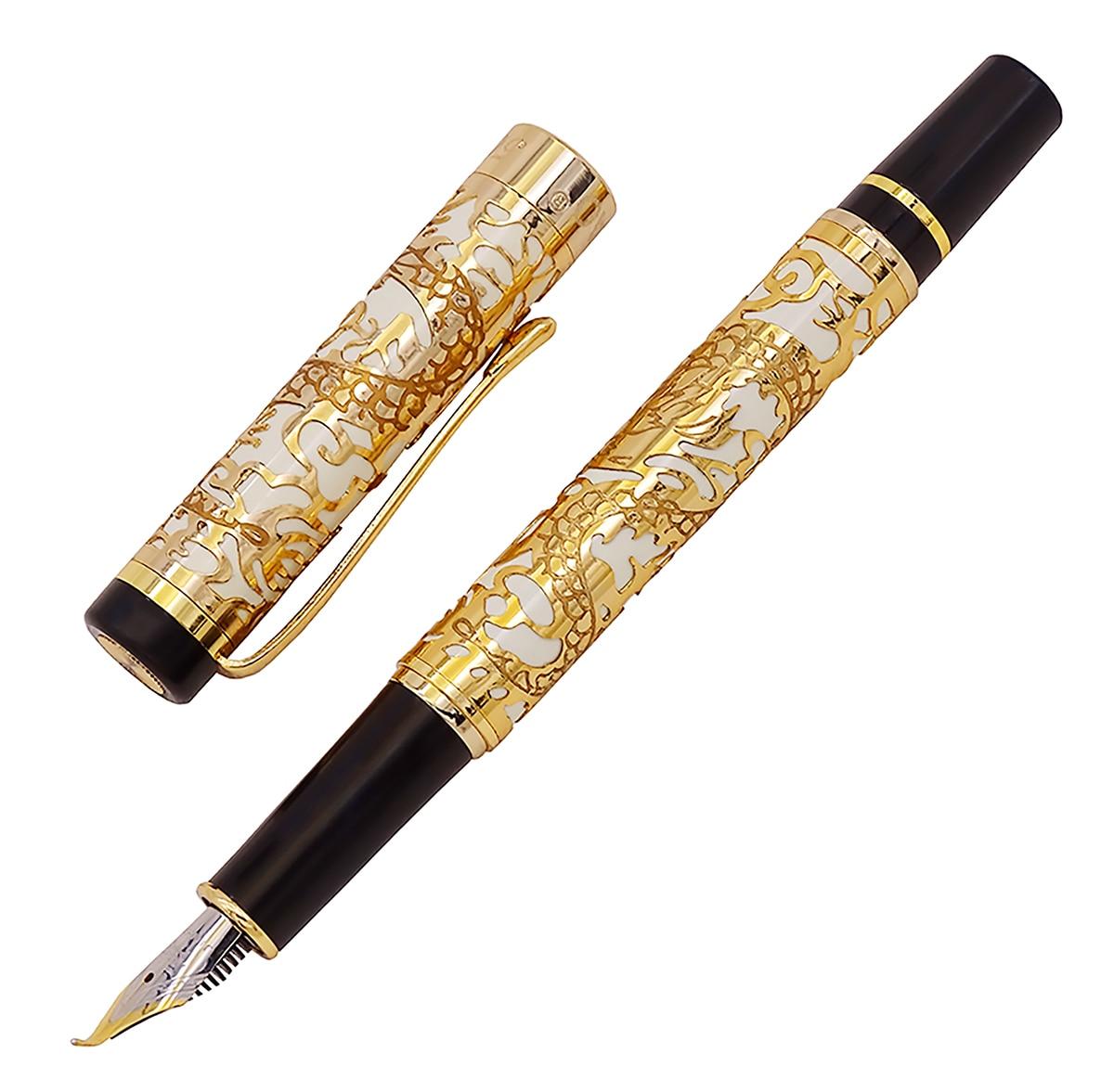 Jinhao 5000 Vintage di Lusso del Metallo Stilografica Calligrafia Penna Piegato Pennino Bella Drago Texture Intagliare, Oro & Bianco Ufficio Penna