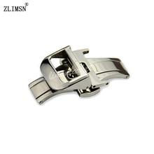 Argent Bracelets 18mm Solide En Acier Inoxydable Bande de Montre De Courroie Ceinture Boucles En Métal Double Pli Fermoir Relojes Hombre 2016 JAE101