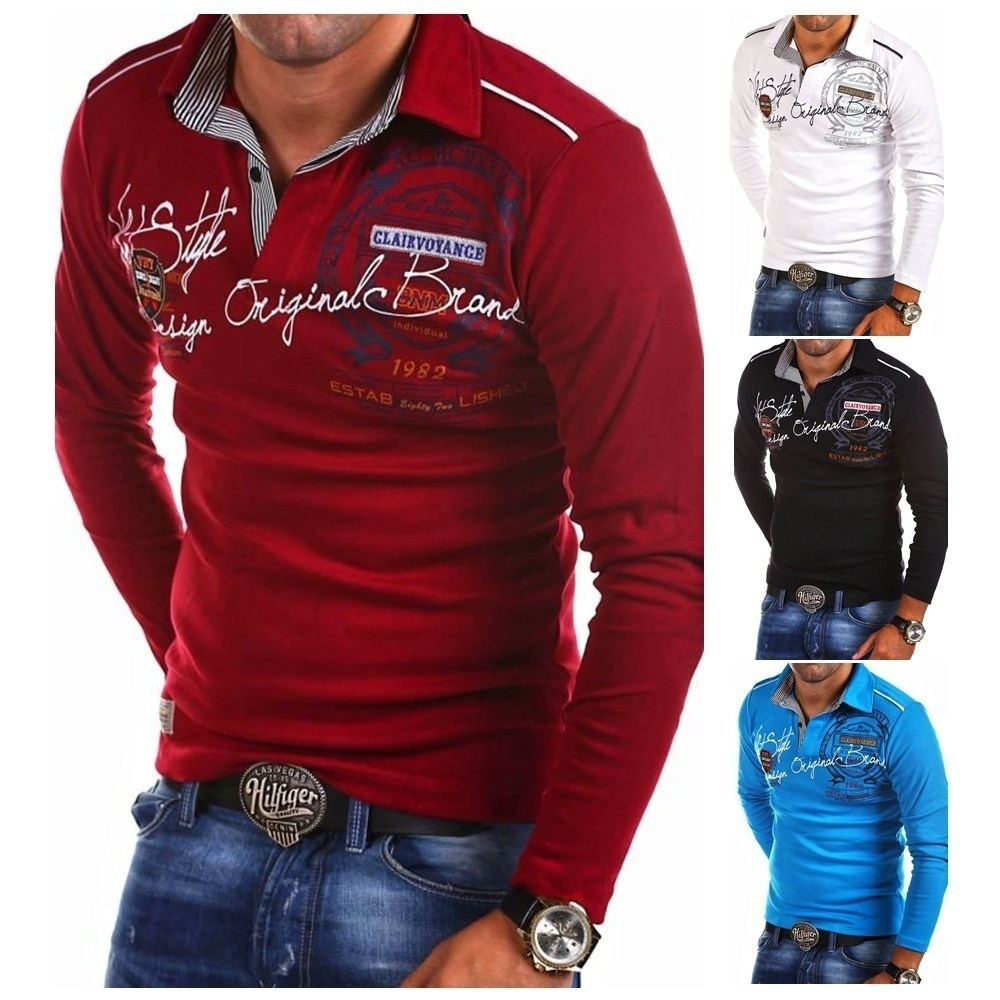 ZOGAA Mens Summer Fashion Shirts Long Sleeve   Polo   Shirts Personality Casual Letter Printed Cotton   Polo   Shirt Quality Men Tops