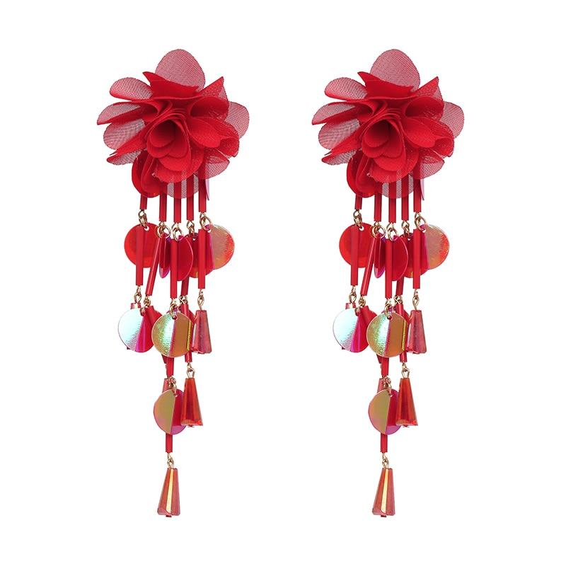 JUJIA Bohemian Long Flower Earrings Pom Pom Big Statement Earrings Fringe Drop Earrings Women Jewelry 20
