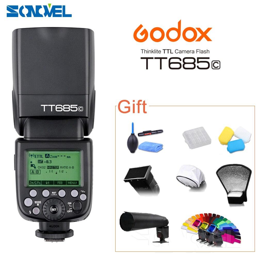 Godox TT685C Speedlite 고속 동기화 캐논 플래시 1100D 1000D 7D 6D 60D 50D 600D 500D + 젤 필터 선물 키트에 대 한 외부 TTL