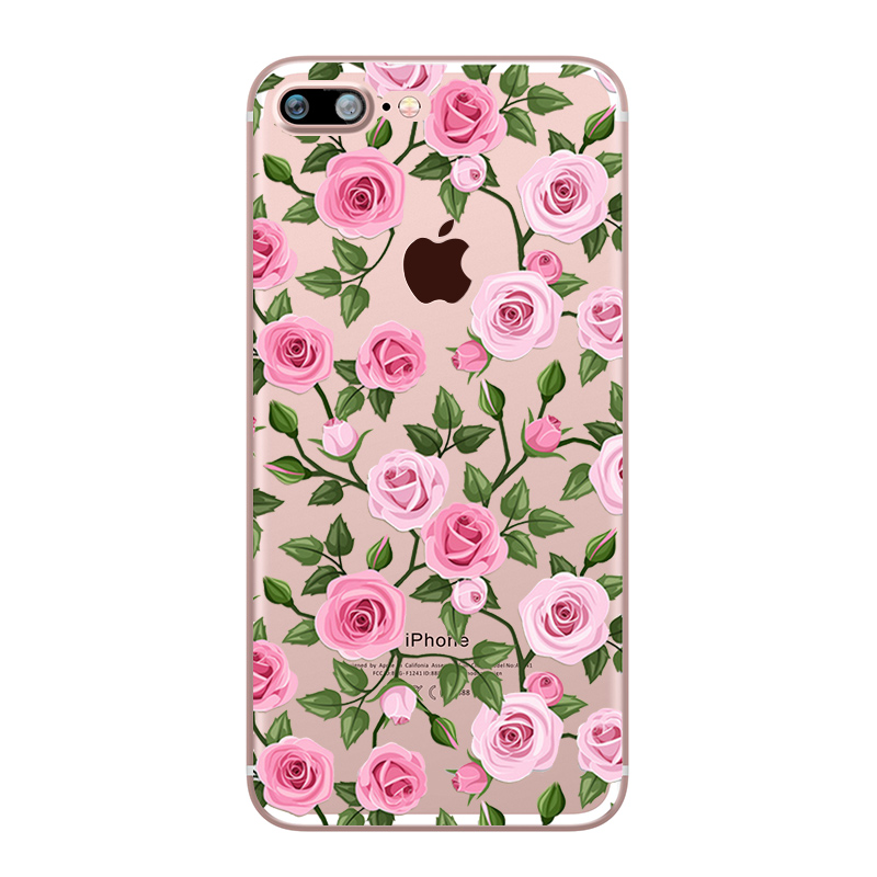 Flower Love Cherry Blossoms Rose Flowers for iphone 7 6 X 6S 8 PLUS SE 5S 7plus Silicon Clear TPU Transparent Capinha Case Funda (7)