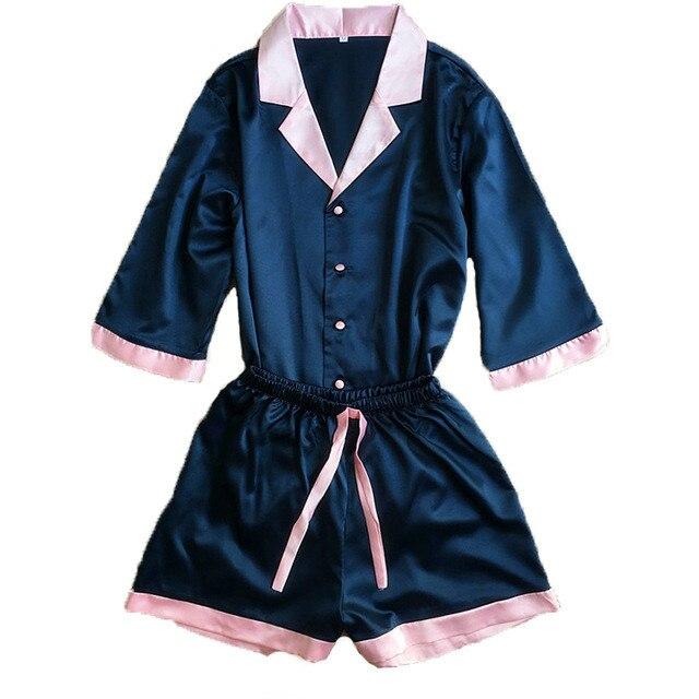 Sexy V-Neck Rayon Silk   Pajama     Sets   Women Leisure Plus Size Tops & Shorts Pink Blue Sleepwear Pyjama Femme 2pcs/  set