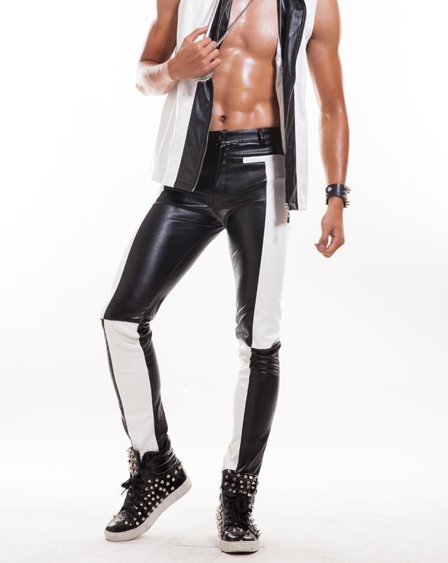 Black white 1 pants man trousers faux leather pants