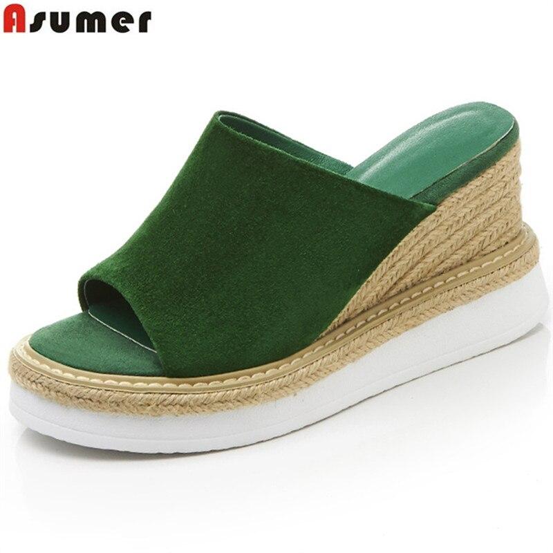 ASUMER Shoes Sandals Platform Wedges Mules Black Peep-Toe Casual Fashion Women New Green