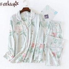 새로운 긴 소매 잠옷 파자마 Femme Coton 나이트 슈트 여성 잠옷 파자마 2 조각 봄 가을 가정 의류 Fdfklak