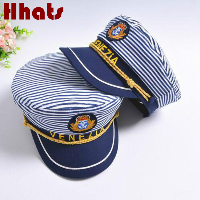 dfaa6cc8f4814 which in shower striped navy military hat cap fashion flat sailor captain  hat family sailor cap bone women men tage costumes
